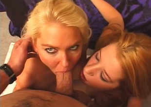 2 babes make a cock ripple concerning their faces.