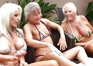 3 Grandmas Get Disgraceful Dick Deep Inside Them, Begging thither Red-eye Their Cum