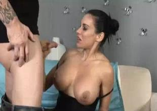 His Huge Cumload Paints Superior to before Her Big Boobies