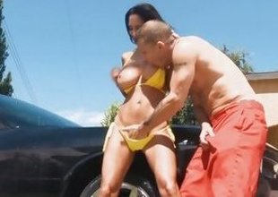 Car cleansing Ava Addams gets wet and horny