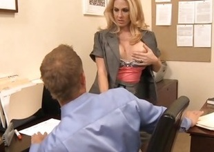 MILF boss seduces worker