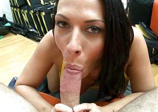 Rachel Starr giving an staggering blowjob