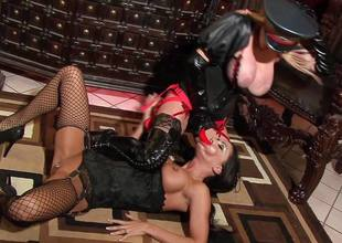 Slut Jessica Jaymes with the ancillary of Taylor Wane the dominatrix