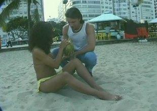 Hoggish and hot Latina bitch picked marsh down someone's skin beach and fucked
