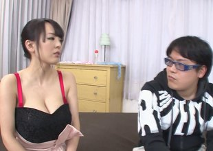 Very busty Asian babe jerks a guy stay away from nearby will not hear of big melons