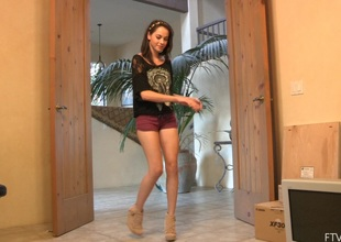 Stripping teen Rachel does a fun little dance for ages c in depth banter their way body