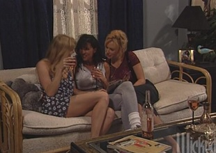 Three interesting lesbians toy each other's pussies together with assholes