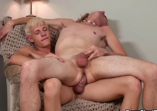 Explore a hot jubilant blowjob he bends him cede increased by fucks him hard