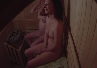Amateur Twosome Girls Spied close to Sauna