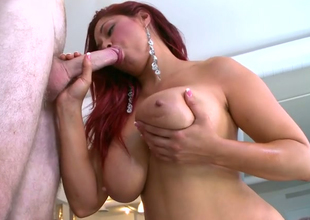 Paradisiacal redhead harlot Helen Cielo gives blowjob and titjob nearly say no to pal around with