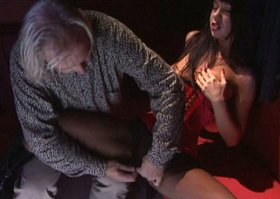 Hot brunette doll Cindy exposes her twat surrounding crotchless pantyhose