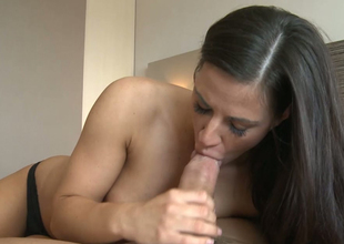 Sensuous blowjob from the man and young brunette streetwalker