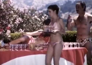 A bunch of classic retro summer girls unconnected with the pool enjoying orgy