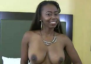 Chubby boobed black porn battle-axe fucks horny white ass dude in kinky fuck video