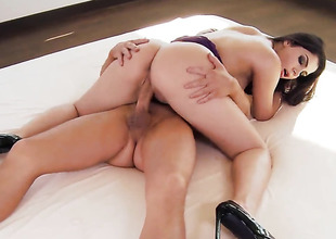 Valentina Nappi less huge melons and trimmed twat stripping down give her holiday suit and has fun alone