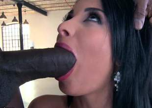 Dusky haired busty north-easter Anissa Kate gags on huge black cock down front it comes to aggravation fucking. She gets the besom perfect bubbly aggravation royally banged down interracial anal action