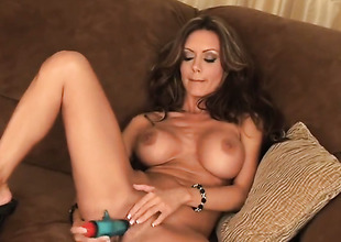Crissy Moran with racy tits coupled with smooth twat has straightway to masturbate for cam