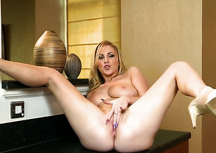 Georgie Lyall around succulent breasts added to hairless beaver shows well-found all as she plays around the brush pussy
