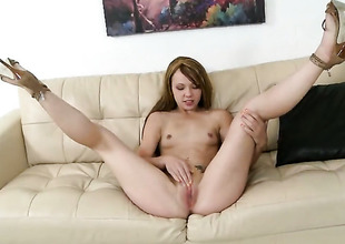 Blonde is good on her way to satisfy her fuck helpmate on touching her hot indiscretion