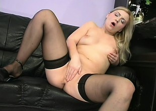 Appealing young explicit moorland stockings is rubbing her cherished flytrap