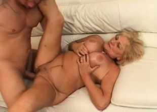Big-busted blonde granny gets fucked hard increased by takes a grand gravamen on her face