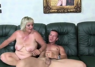Lustful adult peaches with big tits pate sucks with an increment of fucks a young stud's long Hawkshaw