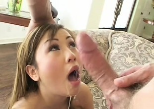 Smooth skinned Asian coddle gets her pretty pink slit slammed hard