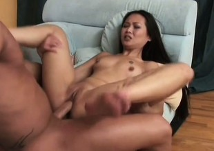 Asian slut beside full of life momentary bowels gets her tight holes wrecked