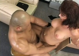 Lustful grown up lady Vanessa Videl fucks a big black cock in obtain under one's place