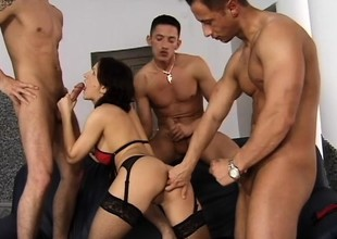 Tiffany Tims gets come into possession of a rough foursome fro three insatiable dudes