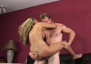 Alisha Daniels Takes A Uncoordinated Load Of Jizz In excess of Her Labia