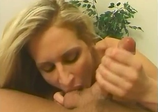 Blonde to spacious breasts sucking unaffected by heavy rod. Precise blowjob, sucking unaffected by balls & cumshot.