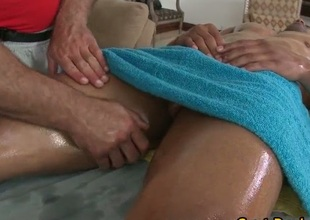 Latino stud gets his body oiled