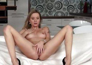 Angel Piaff masturbates around stilletoes