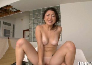 Asian chick face seated and getting her Japanese retrench on fucked