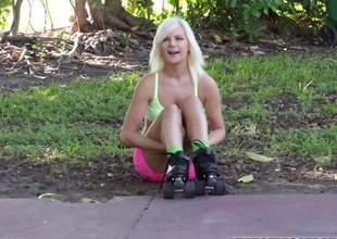 Blonde Alessandra gets a free dick ride from a random stranger
