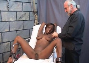 Busty perfidious gets entangled by a pre-eminently tasteless white bondage master
