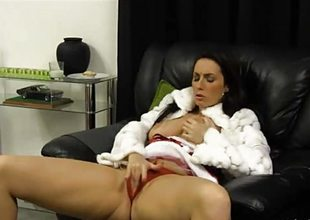 Evil girl Paige Turnah finger fucks pussy kick into touch Santa