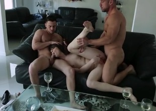 Double teamed Aspen Ora blows and bangs two guys