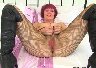 My blue-eyed old crumpet British milfs in fishnet pantyhose