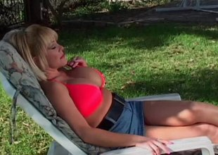 Busty grown-up light-complexioned grumble gets fucked by a university chap outdoors