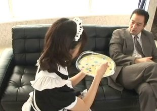 Maid serves someone's skin brush boss an afternoon snack and someone's skin brush stained pussy