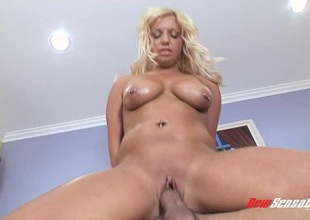 Succulent blonde's body is shimmering while property fucked hardcore
