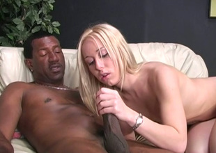 Deliciously charming blondie takes a BBC up the brush tight punani