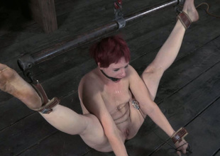 This lusty redhead with shudder at to small titties gets punished hard encircling the oubliette