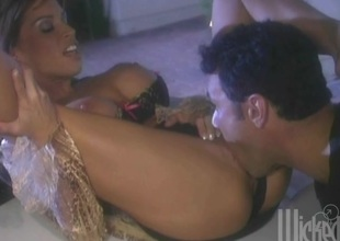 Busty Devon Michaels gets coupled the bouncer of a car and fucked