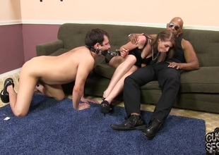 Sub cuckold watches his conjunction the knot get nuisance fucked by a jumbo black dick