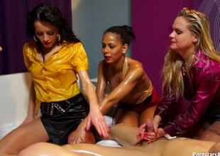 Amazingly kinky lesbians completely oiled up added to having group sex