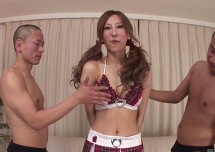 Asian coddle in uniform increased by with pigtails gets toyed