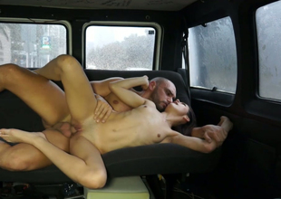 Sassy ill-lit harlot gets her racy make away banged in someone's skin passenger car
